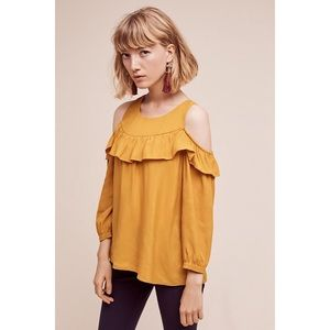 Anthro | Maeve | Brearly Open Shoulder Ruffle Top